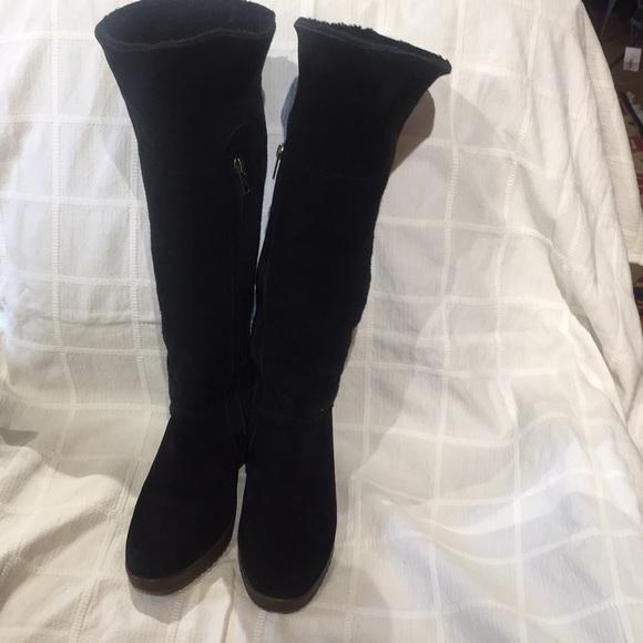4676c4fef63 UGG knee high wedge boot black suede. M 5bab8fad6197456d7cbf7b26